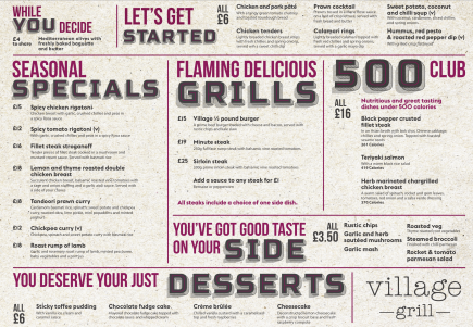 Village Grill main menu