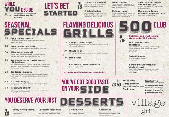 Village Grill main menu
