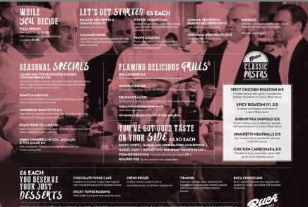 Buca di Beppo main menu